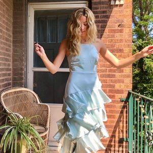 Lulu's Satin Tiered Asymmetrical Midi Dress